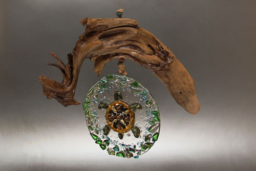 fused glass turtle mandala on driftwood, L.Oeffling