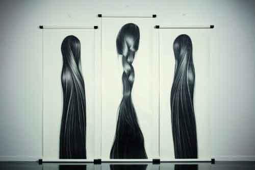 charcoal on paper, Hong Zhang