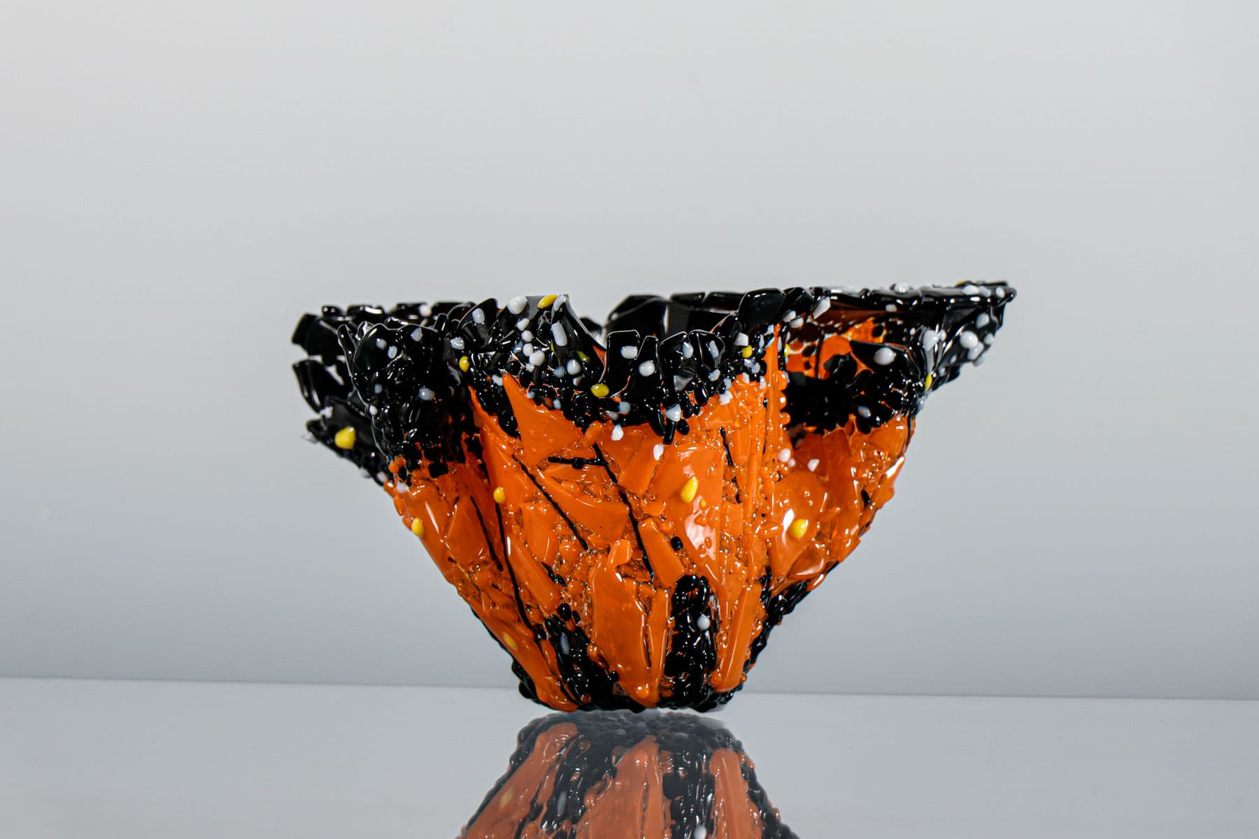 fused glass vase by linda oeffling
