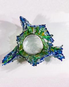 fused glass vase, overhead view