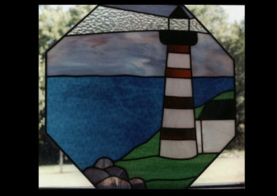 Stained glass lighthouse octagon window by linda oeffling