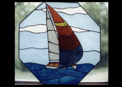 stained glass sailboat by linda oeffling