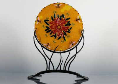 fused-glass-mandala-bees-on-gallardia by linda oeffling