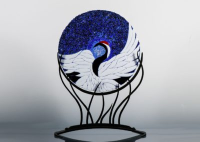 fused-glass-mandala-japanese-crane by linda oeffling