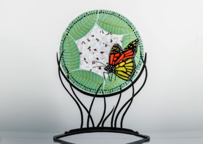 fused-glass-mandala-monarch-on-milkweed by linda oeffling