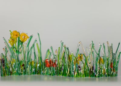 "fused-glass-tabletop-curve-""Impression of Summer"" by linda oeffling"
