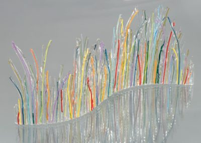 "fused-glass-tabletop-curve-""Rainbow Spring"" by linda oeffling"