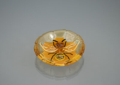 fused glass tiny bowl: Bee #1