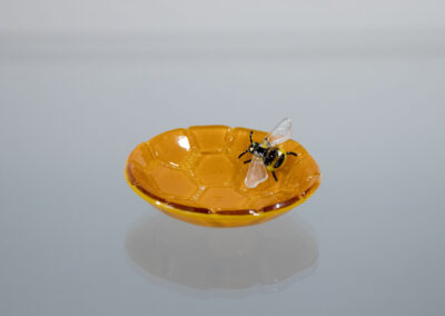 fused glass tiny bowl: Bumblebee #2