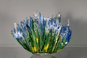 "fused glass vase ""burst of spring"" by linda oeffling"