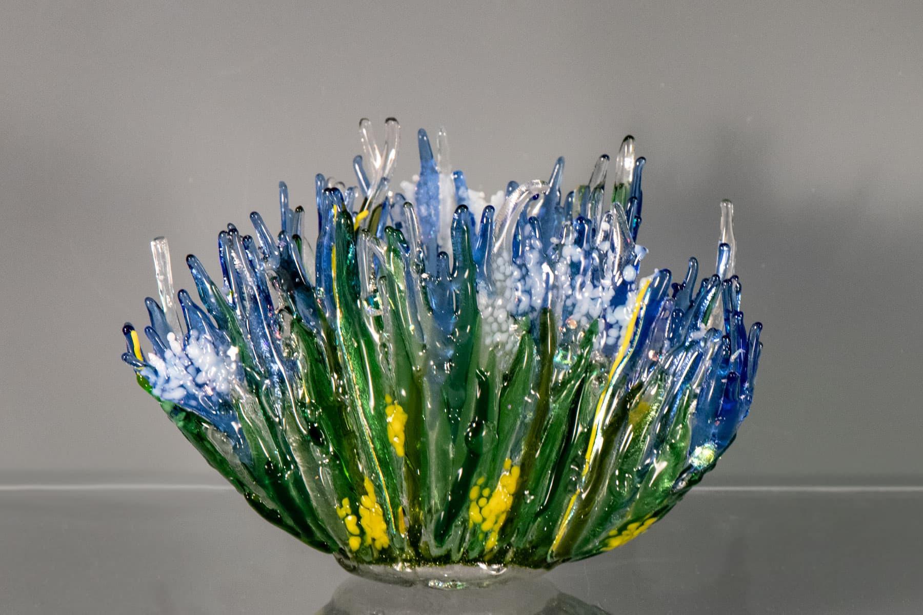 """fused glass vase """"burst of spring"""" by linda oeffling"""