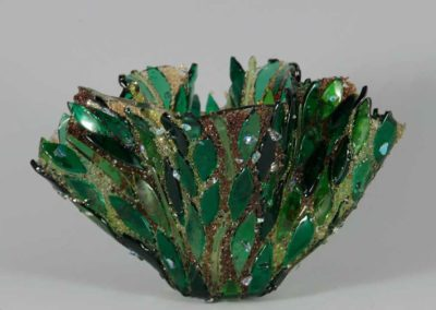 "fused glass vase ""forest magic"" by linda oeffling"