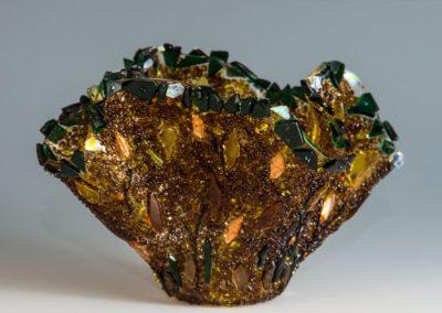 """fused glass vase """"golden autumn"""" by linda oeffling"""