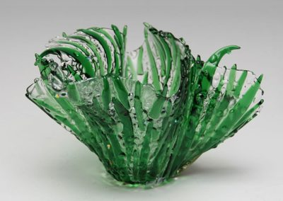 "fused glass vase ""grass with dew"" by linda oeffling"