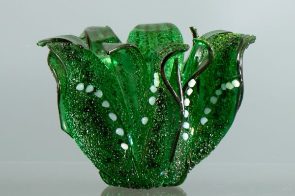 "fused glass vase by linda oeffling ""Lily of the Valley"""