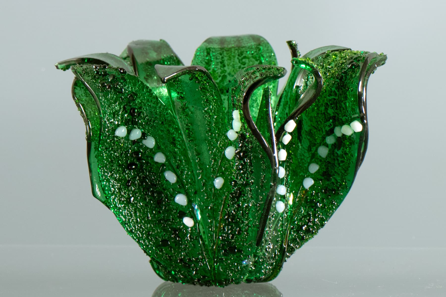 """fused glass vase by linda oeffling """"Lily of the Valley"""""""
