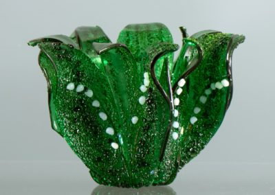 "fused glass vase ""lily of the valley"" by linda oeffling"