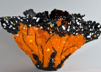 "fused glass vase ""monarch"" by linda oeffling"