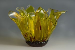 "fused glass vase ""sunflower"" by linda oeffling"