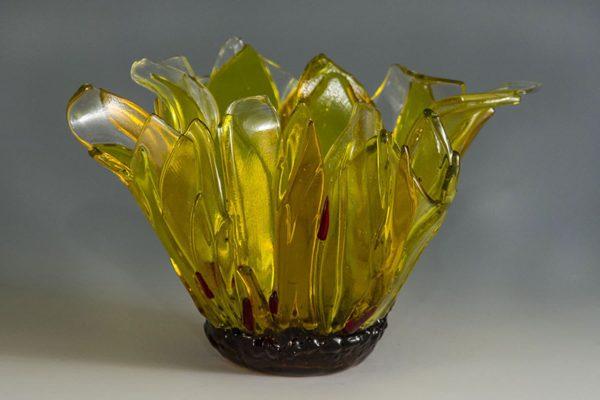 "fused glass vase ""sunflower"" by linda oeffling"