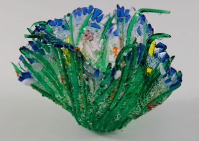 "fused glass vase ""sunny day"" by linda oeffling"