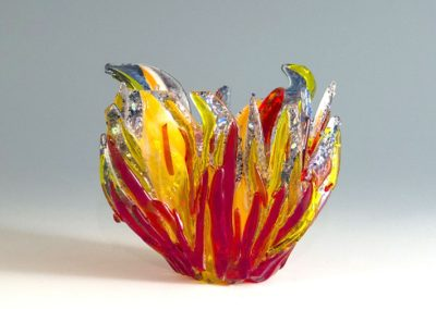 "fused glass vase ""sunset fire"" by linda oeffling"
