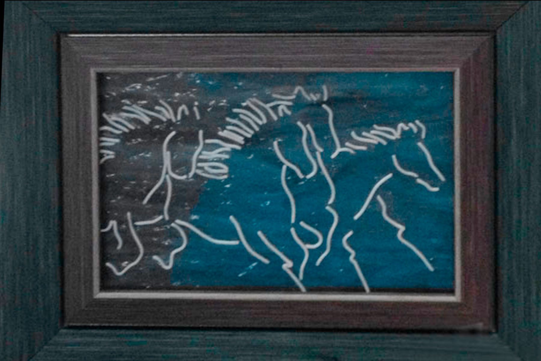 glass stringer art running horses by linda oeffling