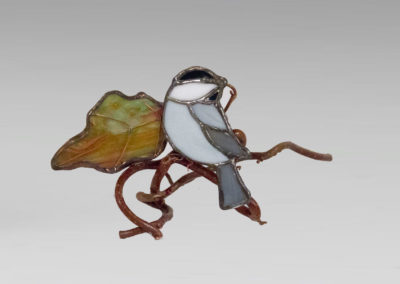 stained glass chickadee with fall leaf by linda oeffling