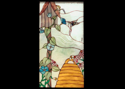 stained glass birdhouse with skep by linda oeffling