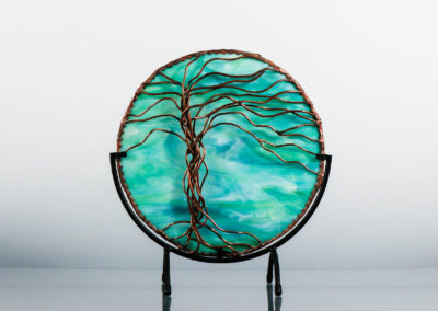 copper tree of life mandala on teal glass