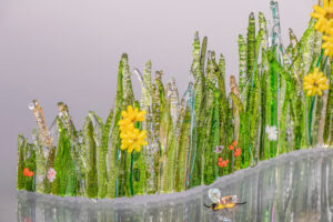 """fused glass tabletop curve sculpture """"Dew Spangled Meadow"""" by Linda Oeffling"""